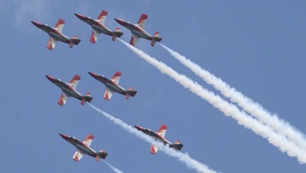 Die spanische Kunstflugstaffel Patrulla Aguila wird bereits am Montag in Zeltweg erwartet. (Bild: Sepp Pail)