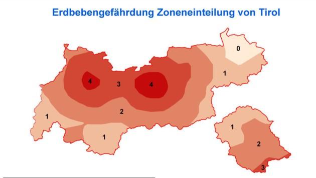 Die Grafik der ZAMG zeigt, wo in Tirol die Erdbebengefahr am größten ist