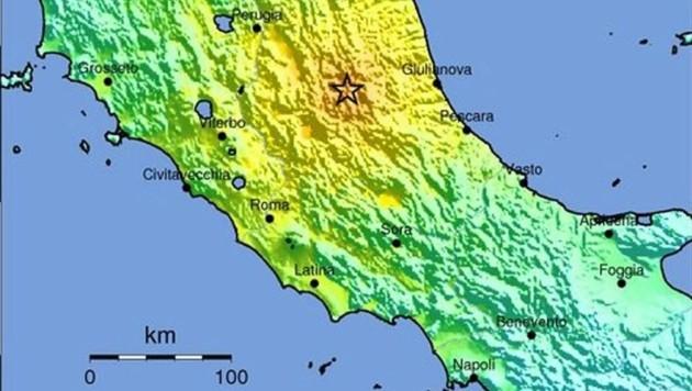 Das Erdbeben ereignete sich rund 150 Kilometer nordöstlich von Rom.