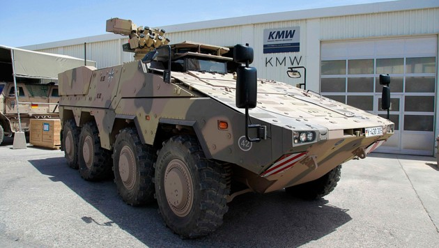 "Ein ""Boxer""-Radpanzer der Bundeswehr in Afghanistan (Bild: ISAF Headquarters Public Affairs Office)"