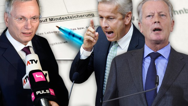 Sozialminister Stöger, VP-Klubobmann Lopatka, Vizekanzler Mitterlehner (v.l.)