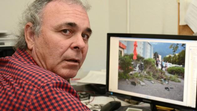 Gerhard Kolb zeigte der â01EKroneâ01C die schockierenden Unfallfotos.