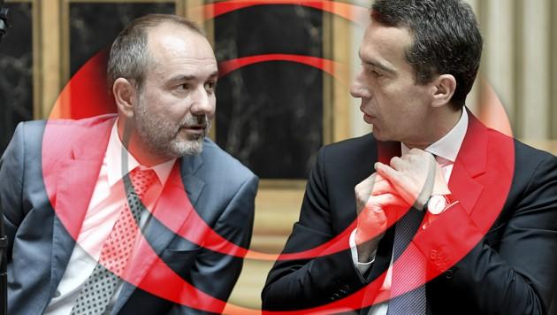 Kanzler Christian Kern und Medienminister Thomas Drozda (links) (Bild: APA/HANS KLAUS TECHT, ORF)