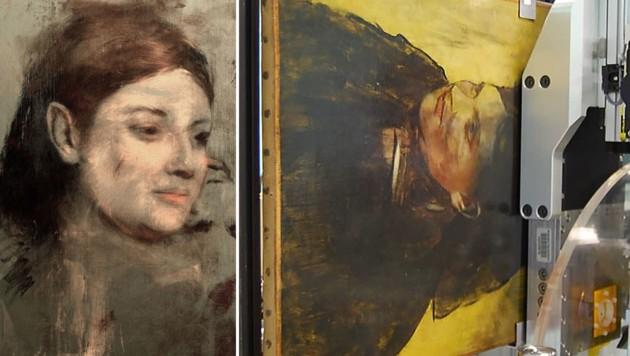 """Das übermalte Porträt (links) unter dem Degas-Bild """"Porträt einer Frau"""" (rechts)"""