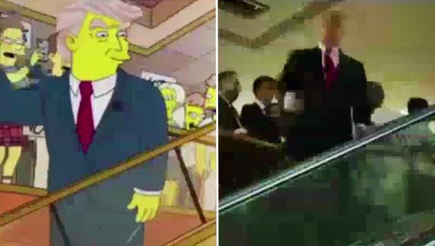 Trump als Simpsons-Figur (li.) und der echte Trump. Beide Szenen scheinen ident zu sein. (Bild: facebook.com/Awareness Act)
