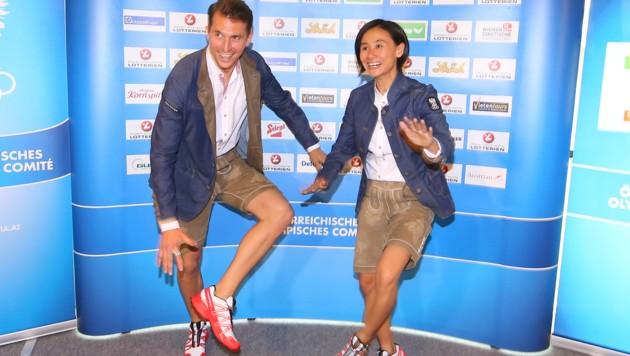 Liu Jia (hier mit Rene Pranz) wird Österreichs Fahnenträgerin in Rio sein. (Bild: GEPA)