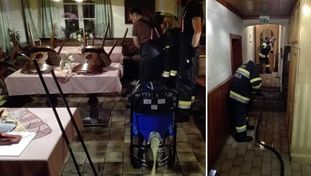 Einsatz mit Nasssaugern in einem Gasthof in St. Lorenzen (Bild: FF St. Lorenzen)