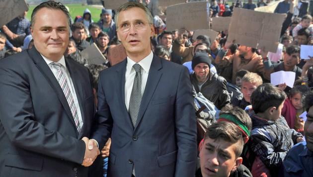Verteidigungsminister Hans Peter Doskozil mit NATO-Generalsekretär Jens Stoltenberg (Bild: HBF/Pusch, AFP)