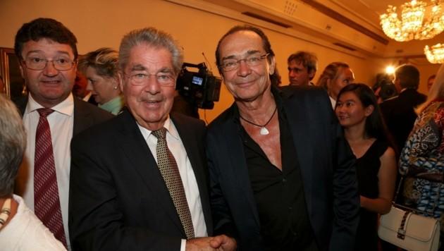 """Bundespräsident Fischer mit """"El Juez""""-(Der Richter-)Komponist Kolonovits"""