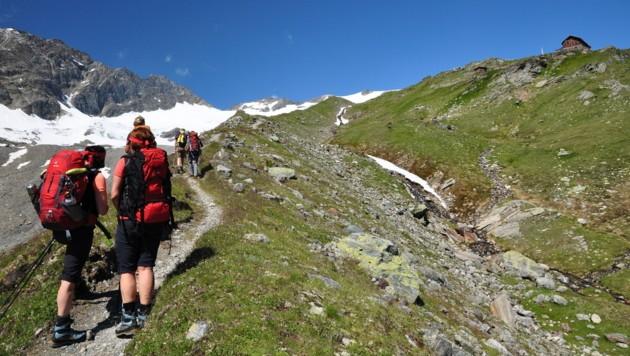 Wanderer auf dem Weg zur Badener Hütte (2608 Meter)
