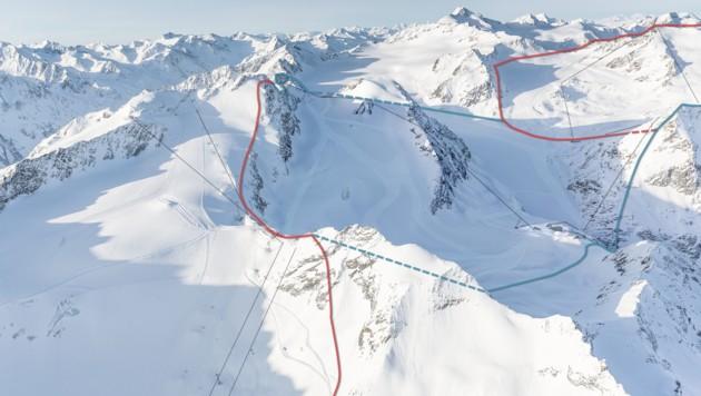 Die blau markierte Zone beschreibt das Gebiet der geplanten Verbindung der Gletscherskigebiete