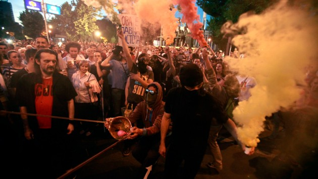 Protest gegen die mazedonische Regierung (Bild: AP)