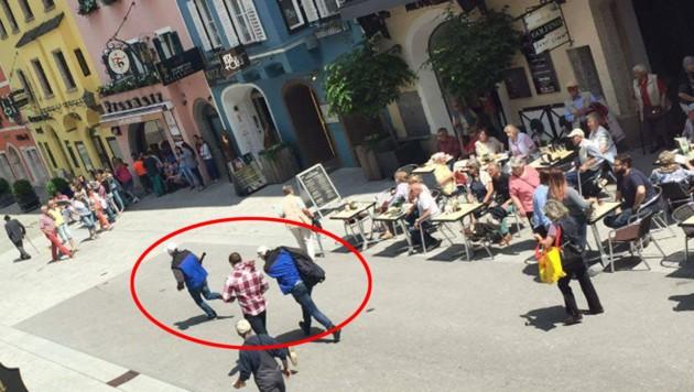 Das Trio flüchtete unmaskiert durch die Innenstadt. (Bild: Leserreporterin Sabine Feiersinger)