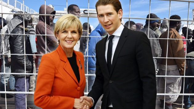 Außenminister Sebastian Kurz mit seiner australischen Amtskollegin Julie Bishop (Bild: APA/AFP/GIOVANNI ISOLINO, BMEIA/DRAGAN TATIC)