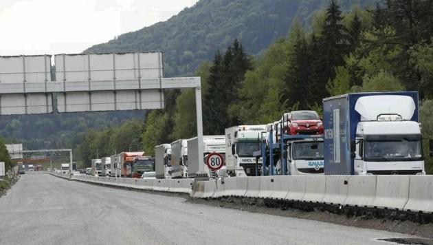 Die Arbeiten auf dem Abschnitt der A 10 im Tennengau sollen im August beendet werden (Bild: Markus Tschepp)