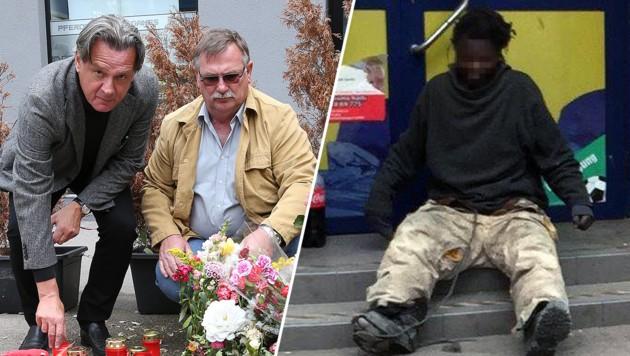 """Franz E. (mit Anwalt, li.) trauert am Tatort, wo Francis N. (re.) seine Frau erschlagen haben soll. (Bild: Zwefo, """"Krone"""")"""