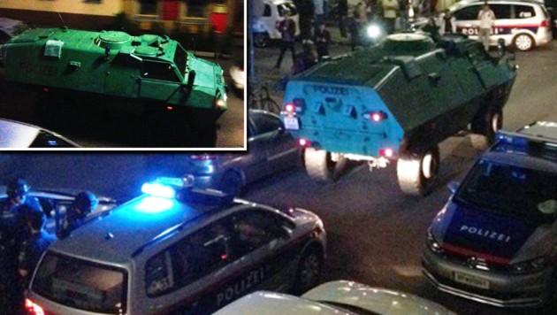 Um eine Eskalation der Gewalt zu verhindern, rückte die Polizei sogar mit einem Panzer aus. (Bild: Screenshot/Twitter)