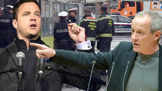 FPÖ-Vizebürgermeister Johann Gudenus (li.) und Grünen-Sicherheitssprecher Peter Pilz (Bild: APA/HERBERT P. OCZERET, privat)