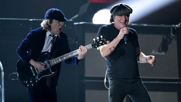 Angus Young und Brian Johnson (Bild: John Shearer/Invision/AP)