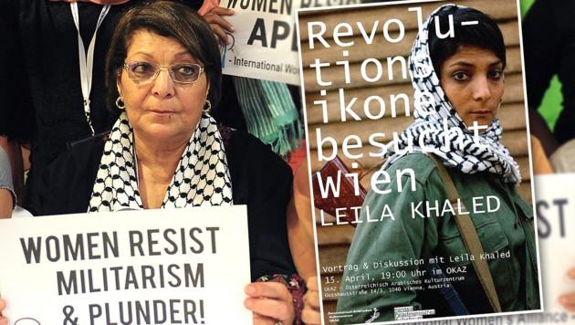 Leila Khaled (72) in Manila (li.) und als junge Frau am Werbeplakat für den Auftritt in Wien. (Bild: Krone, APA/AFP/JAY DIRECTO 1)