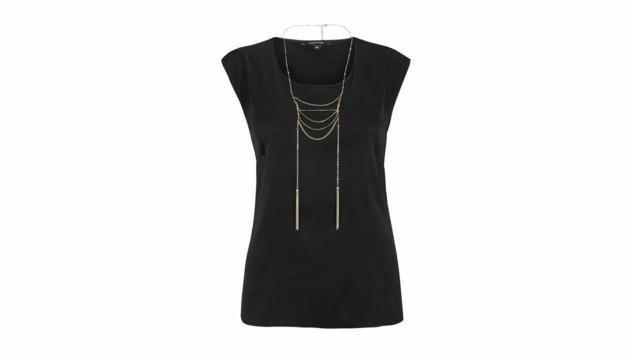 Schwarzes Shirt mit integriertem Goldkettchen (Bild: Comma)