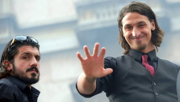 Zlatan Ibrahimovic (rechts) und Gennaro Gattuso (Bild: GIUSEPPE CACACE / AFP / picturedesk.com)
