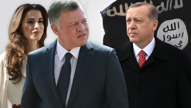 Jordaniens König Abdullah und seine Frau Rania; der türkische Präsident Recep Tayyip Erdogan (Bild: AFP)