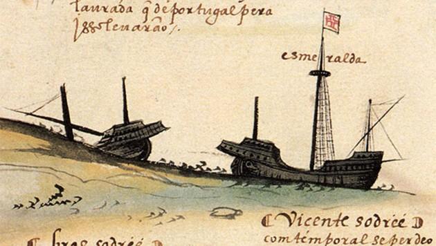 """Zeitgenössische Zeichnung des Untergangs der """"Esmeralda"""" und der """"São Pedro"""""""