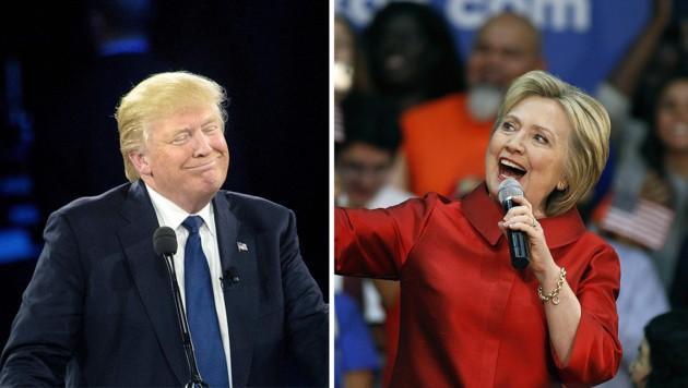 Bei den US-Vorwahlen gab es die nächsten Siege für Trump und Clinton. (Bild: APA/AFP/BRENDAN SMIALOWSKI, APA/AFP/GETTY IMAGES/Ralph Freso)