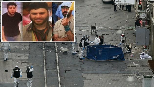 """Nach diesen drei Verdächtigen wird gefahndet. Sie sollen """"spektakuläre"""" Angriffe planen. (Bild: ASSOCIATED PRESS, Türkische Polizei)"""