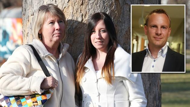 Evelyn Grünwald und Tochter Doris; Anwalt Gunther Ledolter vertritt die beiden.