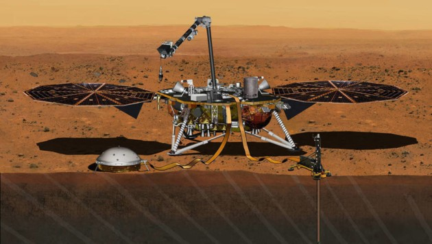 """Künstlerische Illustration: """"InSight"""" auf dem Mars"""