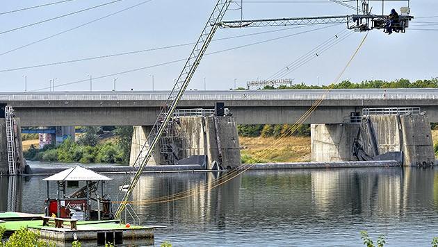 Der Wakeboard-Lift an der Neuen Donau