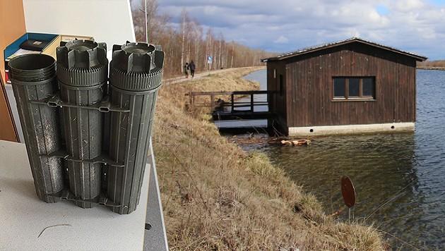 Der Behälter (Bild links) schwamm in der Traun (Bild rechts). (Bild: APA/Polizei, laumat.at)