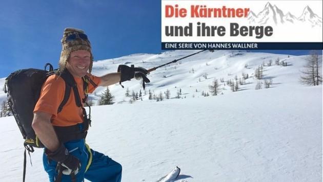 Pedro Unterluggauer vor dem Skitouren-Klassiker Schwalbenkofel.