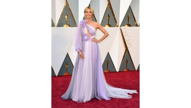 Heidi Klums fliederfarbene Robe von Marchesa erntete viel Spott im Netz. (Bild: Jordan Strauss/Invision/AP)