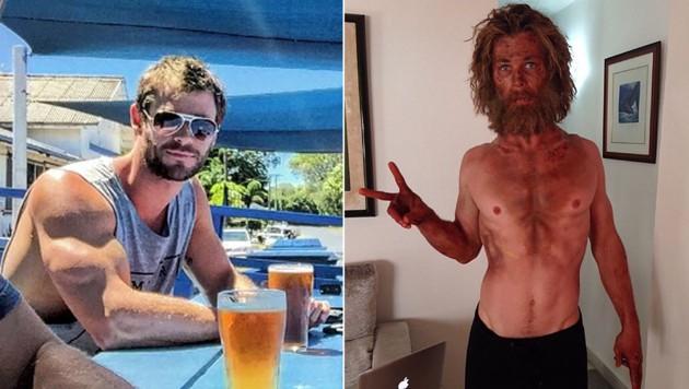 Chris Hemsworth ist nach dem Magerfoto wieder top in Form. (Bild: instagram.com/hemworthluke, instagram.com/chrishemsworth)