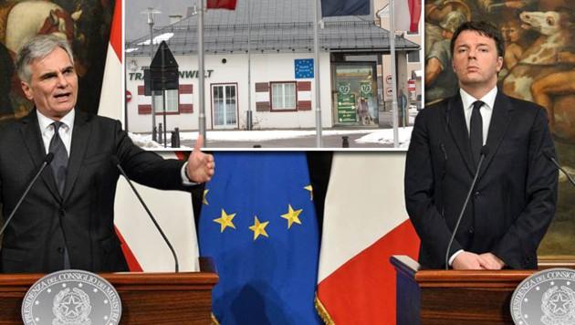 Faymann und Renzi sind uneins über das Vorgehen am Brenner (im kl. Bild die ehemalige Grenzstation). (Bild: APA/BKA/KERSTIN JOENSSON, EXPA)