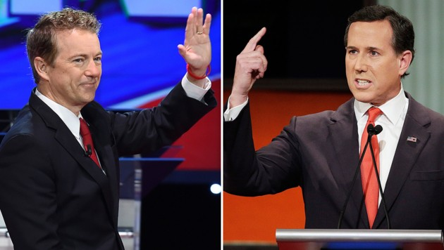 Paul (li.) und Santorum (Bild: APA/AFP/Robyn Beck, Associated Press)