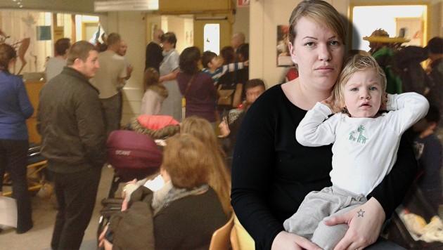 Verena H. und Tochter Lisa (r.) mussten neun Stunden auf die Behandlung warten. (Bild: Mario H., Gerhard Bartel)