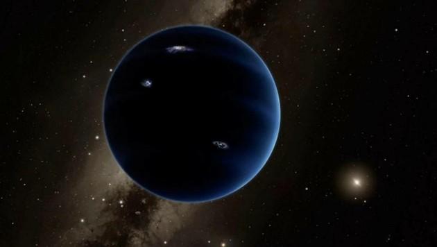 """Künstlerische Illustration von """"Planet Neun"""" und seines Heimatsterns, der Sonne (rechts) (Bild: Caltech/R. Hurt (IPAC))"""