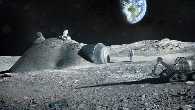 Künstlerische Illustration: Eine Basis auf dem Mond (Bild: ESA/Foster + Partners)