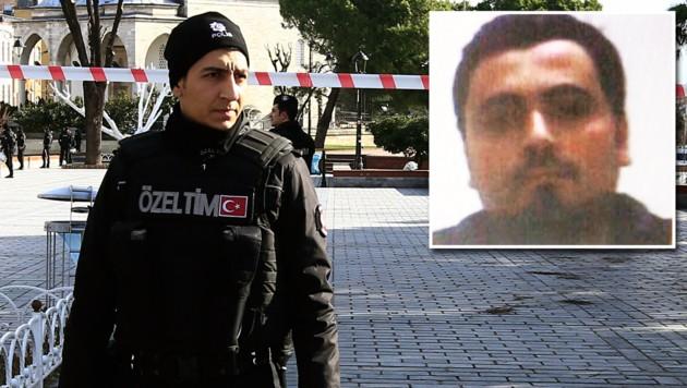 Der 27-jährige Nabil Fadli (kleines Bild rechts oben) kam als Flüchtling in die Türkei. (Bild: Polizei Istanbul, AP)