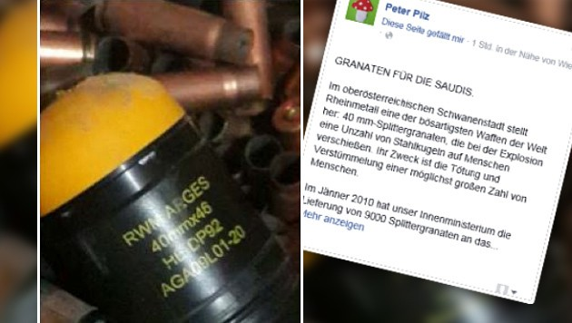 40-Millimeter-Mörsergranaten wie diese wurden nach Saudi-Arabien exportiert. (Bild: Facebook.com/Peter Pilz)