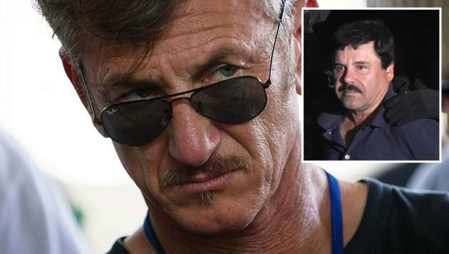 """Nach seinem geheimen Interview mit Drogenboss """"El Chapo"""" steht Sean Penn im Kreuzfeuer der Kritik. (Bild: APA/AFP/HECTOR RETAMAL, APA/AFP/ALFREDO ESTRELLA)"""
