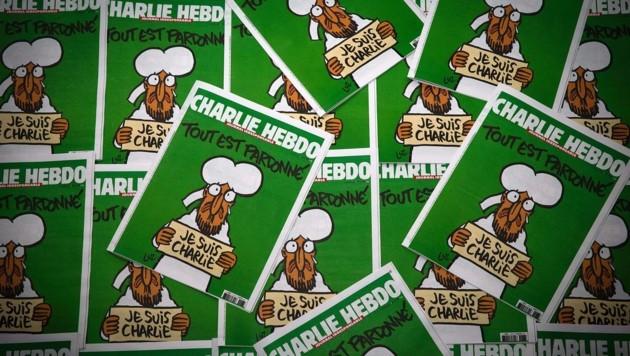 """Die erste """"Charlie Hebdo""""-Ausgabe nach dem tödlichen Anschlag im Jänner 2015 (Bild: AFP)"""