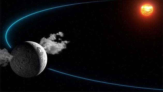 Künstlerische Illustration: Wasserdampf um Ceres