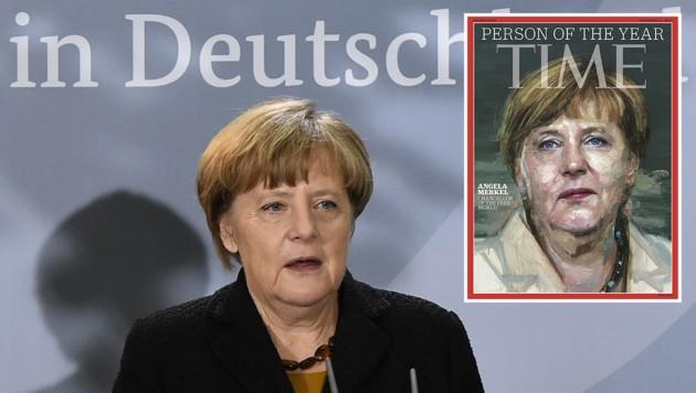 """Bundeskanzlerin Angela Merkel ist für das """"Time""""-Magazin die """"Person des Jahres 2015"""". (Bild: APA/AFP/TOBIAS SCHWARZ, APA/AFP/HO)"""