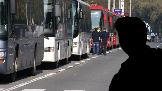Chauffeure warnen vor Unfällen beim Transport von Flüchtlingen durch Österreich. (Bild: Jürgen Radspieler, krone-Grafik)