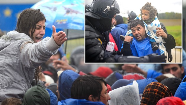 Flüchtlinge an der slowenisch-kroatischen Grenze (Bild: AFP/JURE MAKOVEC)